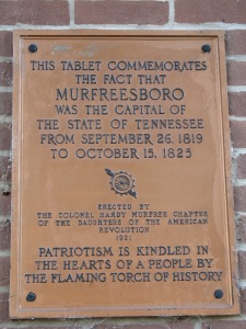 A local chapter of the Daughters of the American Revolution placed this plaque at the Rutherford County Courthouse in Murfreesboro, TN.