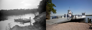 The 1930s ferry and today's ferry.  Courtesy of the Library of Congress.