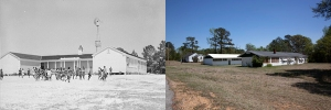 The original school at Gee's Bend and the school as it looks today.