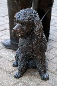 Close up of statue of J. Graham Brown with his beloved dog, Woozem. Courtesy of Flickr.