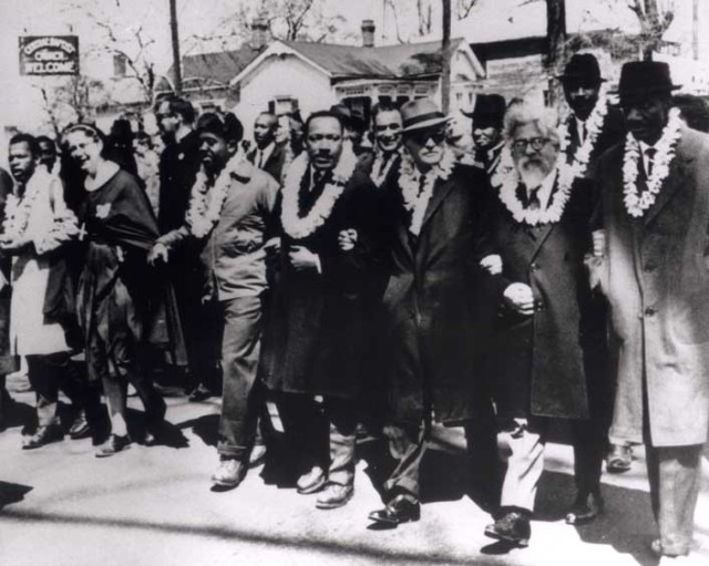 Rabbi Joshua Heschel, 2nd from right, marches with Martin Luther King, Jr., in the Selma Civil Rights March. Photo Courtesy of American Jewish Archives.