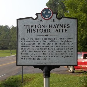 Marker at the Tipton-Haynes State Historic Site.