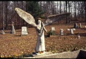 E.T. Wickham roadside park and Wickham Cemetery: angel. Photo by Dr. Carroll Van West, 2002. Courtesy of Southern Places.