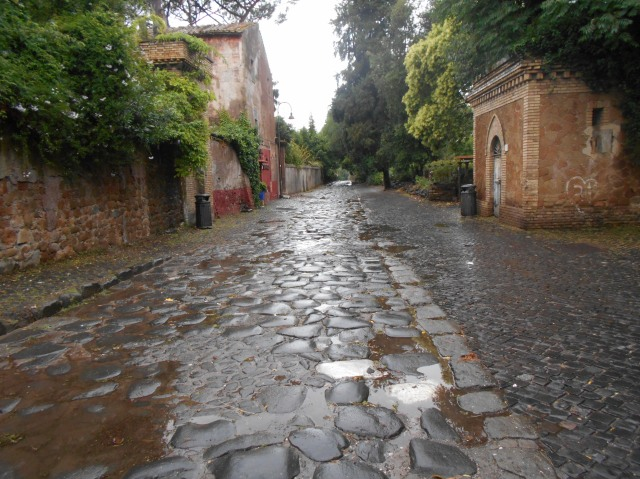 All roads lead to Rome: A segment of the Appian Way, originally constructed in the 4th century B.C., is remarkably intact, despite constant foot and car traffic.  Photo courtesy of Michael Fletcher, the graduate student teaching assistant for this study abroad course.