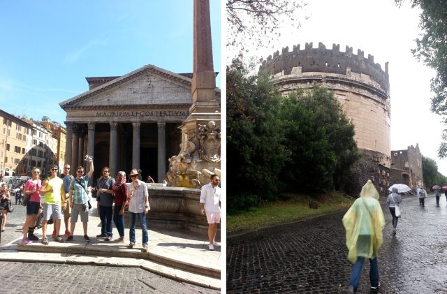 Left: Alicia, David, Ethan, Andrew, Michael, Duaa'a, Jay, and MTSU mascot Lightning partake of the cultural landscape of the Piazza della Rotonda, with the Pantheon as the focal point; right, The crown of merlons along the top of the tomb of Caecilia Metella, located on the ancient Appian Way, were added in the 14th century by the Caetani family.