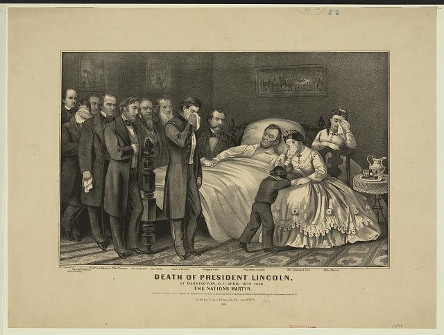 This Currier & Ives print of the death of President Lincoln was published in 1865.  Courtesy of the Library of Congress.