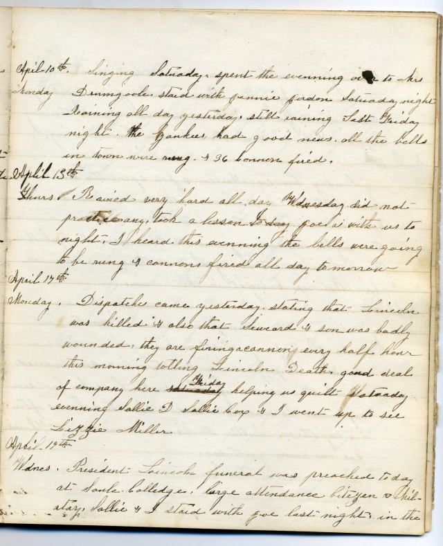 A page from Emma Lane's 1864-1866 diary. Courtesy of the Albert Gore Research Center, MTSU.
