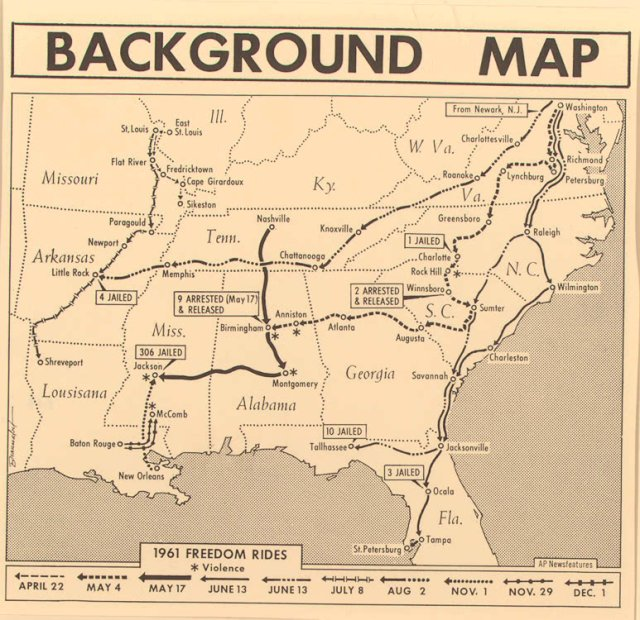 Background Map: 1961 Freedom Rides. Courtesy of the Library of Congress.