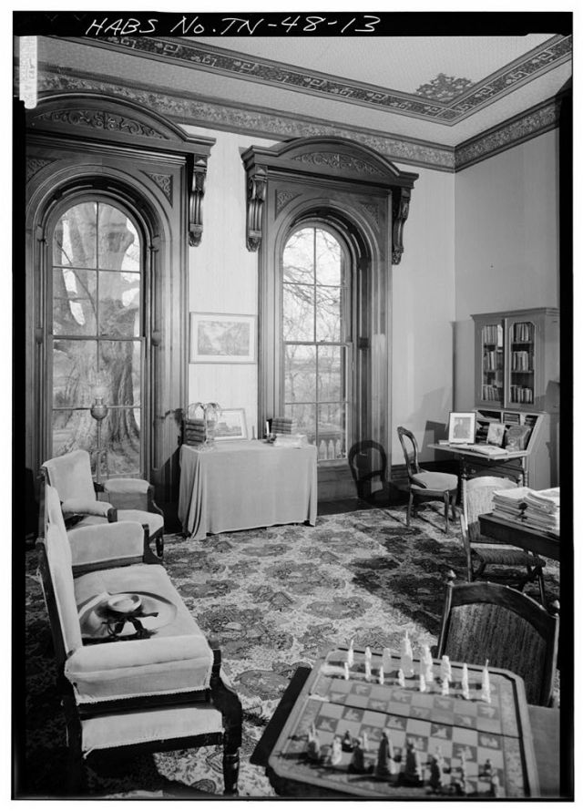 The Library at Glenmore Mansion, as it appeared in 1983 when photographed for the Historic American Buildings Survey. Courtesy of Library of Congress.