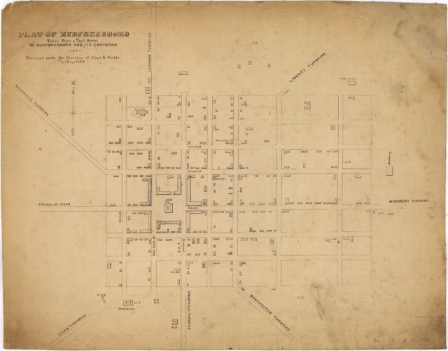 On this plat of Murfreesboro from 1863,  the Carney place is indicated by the rectangular structure east of Maple and north of Church.  Courtesy of the Library of Congress.