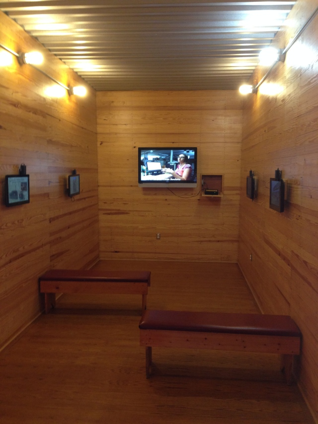 This boxcar has been retrofitted with A/C and video screens.