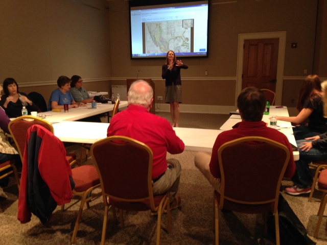 TPS-MTSU education specialist Kira Duke discusses primary source maps with teachers.