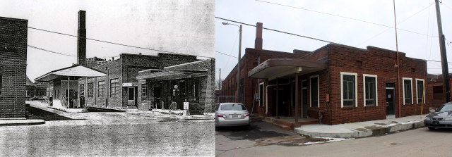 Garage and smokestack from about 1853 (left; courtesy of Metro Archives), and in 2010 (right).