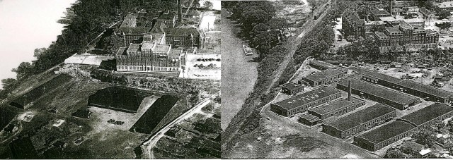 Aerial views of the property from 1930 (left; courtesy of Metro Archives) and 1953.