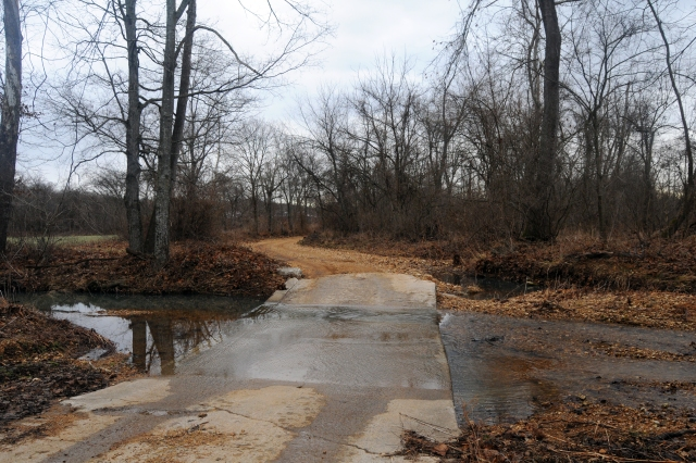 Concrete slabs make fording this creek on the Trail of Tears in Missouri a much easier process today than it was in 1838.