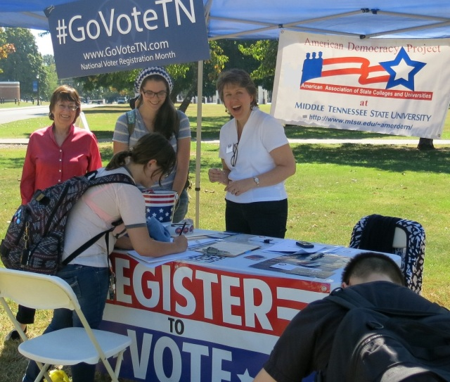 American Democracy Project MTSU has terrific community partners, including the Murfreesboro Rutherford County League of Women Voters, whose members actively work to increase the student vote by carrying out voter registration drives on our campus.