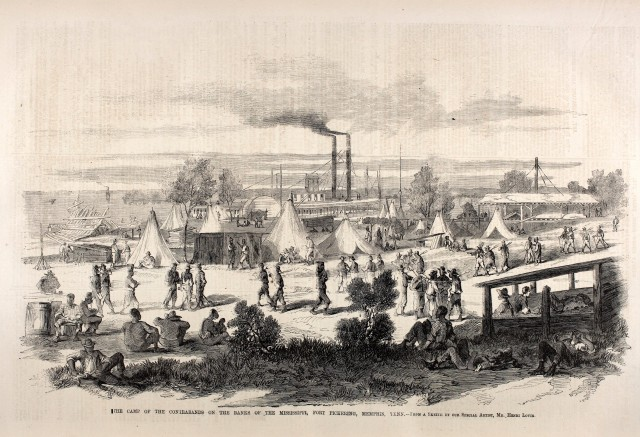 The Camp of the Contrabands on the Banks of the Mississippi, Fort Pickering, Memphis, Tenn—from a sketch by Henri Lovie, published in Frank Leslie's Illustrated Newspaper, Nov. 22, 1862 (Courtesy of Shades of Gray and Blue (www.civilwarshades.org)).