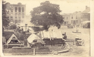 This image shows Union army tents on the lawn to the left of the Rutherford County Courthouse in about 1864.
