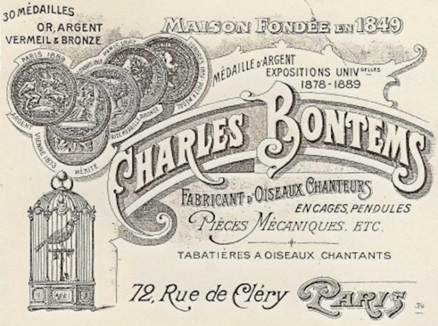 Calling card of Charles Bontems featuring the image of one of his caged oiseaux chantants. Courtesy of Wikimedia.org.