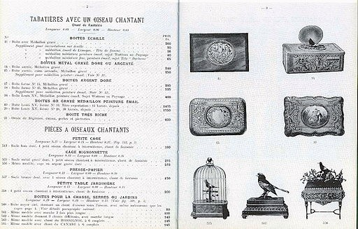 Bontems's 1910 catalogue, featuring a caged bird similar to the one at Glenmore. Courtesy of Wikimedia.org.
