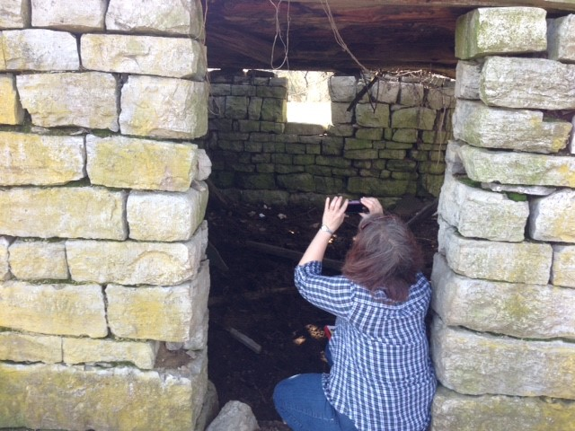 Leigh Ann Gardner documents a stone building in Bedford County.