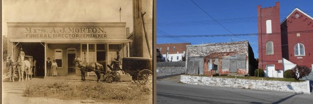 Left, Mrs. A.J. Morton, Funeral Director and Embalmer (Courtesy of Maury County Archives); right, the Morton & Sons funeral home went out of business in the mid-1990s., and the building was vacant in 2014.