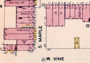 1924 Sanborn Map of Murfreesboro, depicting the original location of Scales & Sons Funeral Home (fourth building up from the bottom left).
