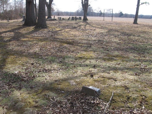 : About forty ground depressions mark the slave graves between the white family section and the post-emancipation black family area of the cemetery.