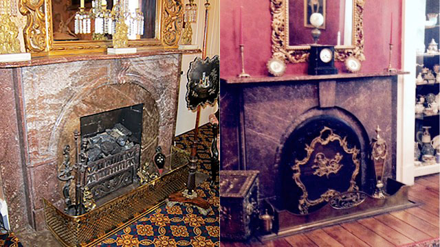Mantels at Belmont Mansion, Nashville, left (courtesy of Belmont Mansion), and the Mabry Hazen House, Knoxville, right