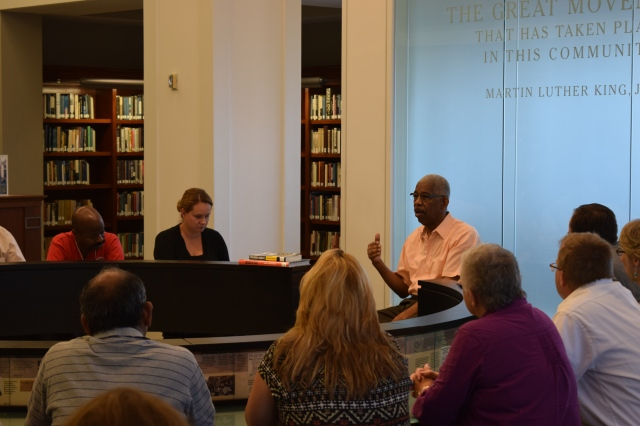 Civil Rights activist Rip Patton meets with workshop participants in the Civil Rights Room at the downtown Nashville Public Library.
