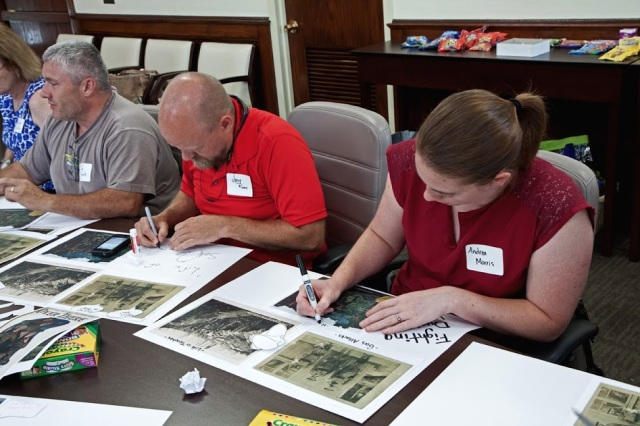 Teachers created a WWI comic strip during the workshop. Courtesy of TSLA.
