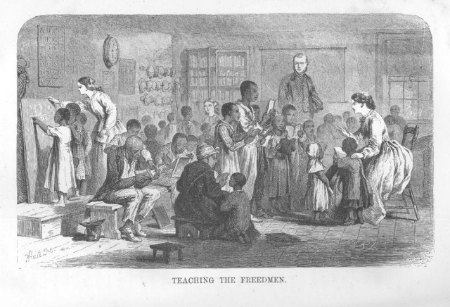 Unlike the scene depicted in this illustration, most freedmen's schools had just one teacher, but this image does do a good job of showing the intergenerational nature of these schools.
