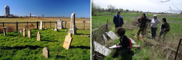 Crider-Wyatt Cemetery (left); Brooks Cemetery (right).