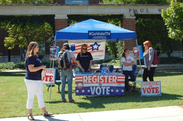 Voter registration booth in front of the Honors College at MTSU.
