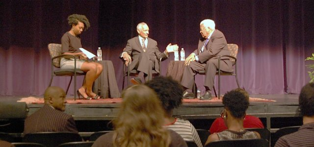 """Rev. C.T. Vivian (middle) and Rev. James Lawson (right) at the """"No Voice, No Choice: The Voting Rights Act at 50"""" panel with Aleia Brown (left)."""