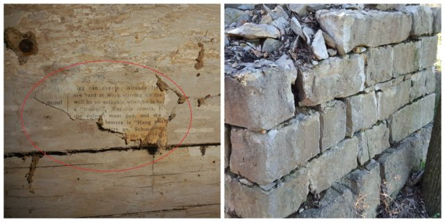 collage of wall and chimney remnant